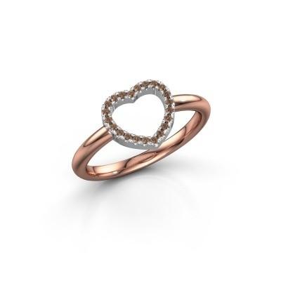 Foto van Ring Heart 7 585 rosé goud bruine diamant 0.11 crt