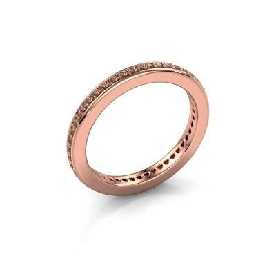 Aanschuifring Elvire 2 375 rosé goud bruine diamant 0.345 crt