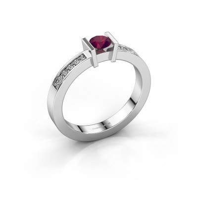 Engagement ring Maryam 585 white gold rhodolite 4 mm