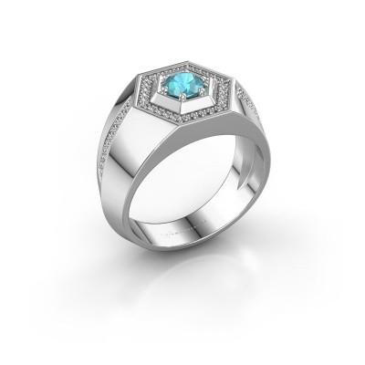 Foto van Heren ring Sjoerd 925 zilver blauw topaas 4.7 mm