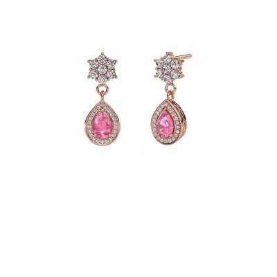 Drop earrings Era 585 rose gold pink sapphire 6x4 mm