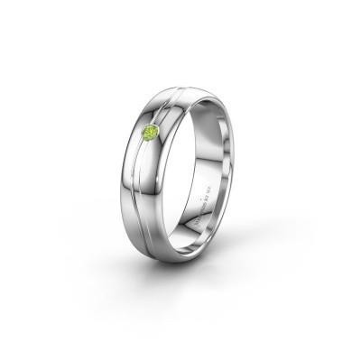 Wedding ring WH0905L35X 950 platinum peridot ±0.20x0.07 in