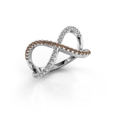 Ring Alycia 2 950 platina bruine diamant 0.45 crt
