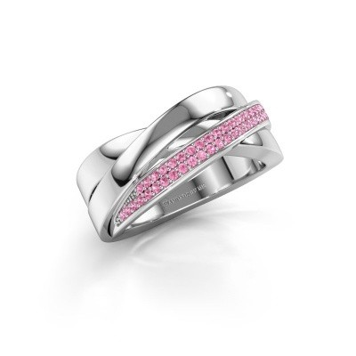 Foto van Ring Katherina 925 zilver roze saffier 1 mm