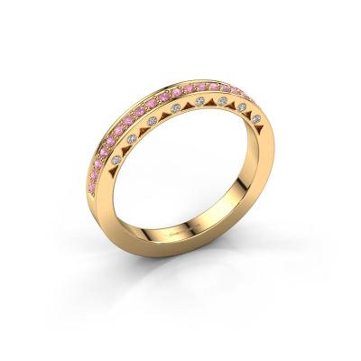 Ring Yasmine 585 gold pink sapphire 1.2 mm