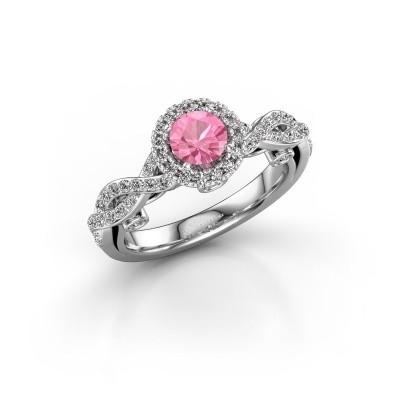 Verlovingsring Madeleine 950 platina roze saffier 5 mm