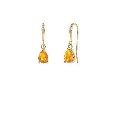 Picture of Drop earrings Laurie 2 585 gold citrin 7x5 mm