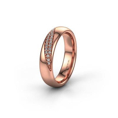 Trouwring WH2025L 375 rosé goud diamant ±5x2.2 mm