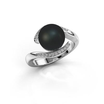 Foto van Ring Dedra 925 zilver zwarte parel 9 mm