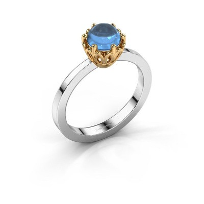 Ring Marly 585 witgoud blauw topaas 6 mm
