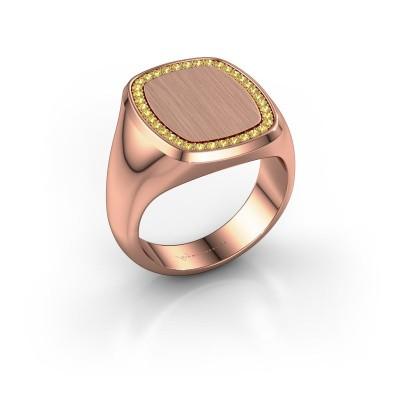 Heren ring Floris Cushion 4 375 rosé goud gele saffier 1.2 mm