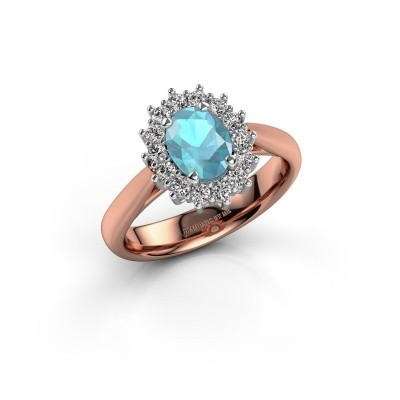 Picture of Engagement ring Margien 1 585 rose gold blue topaz 7x5 mm
