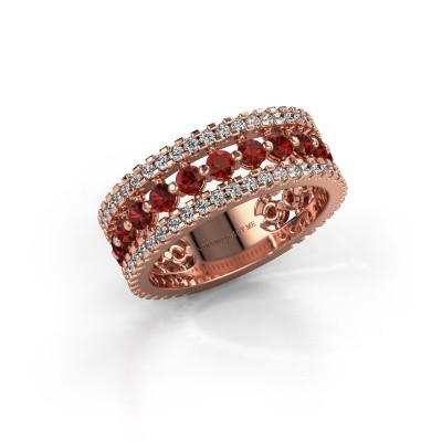 Engagement ring Elizbeth 2 375 rose gold garnet 2.4 mm