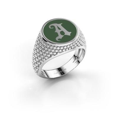Monogramm Ring Zachary 925 Silber grüner Emaille