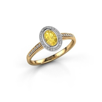 Engagement ring Noud 2 OVL 585 gold yellow sapphire 6x4 mm