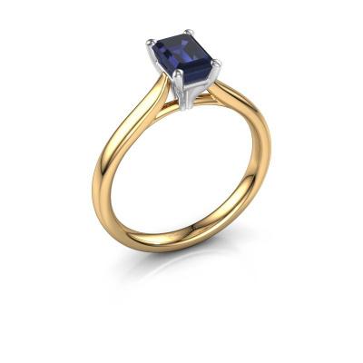 Verlovingsring Mignon eme 1 585 goud saffier 6.5x4.5 mm