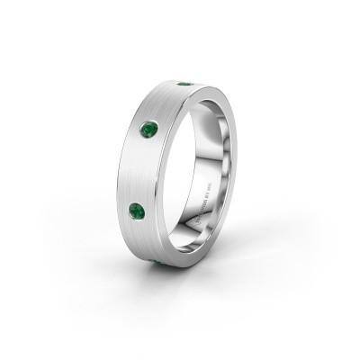 Trouwring WH0105L15BM 585 witgoud smaragd 2 mm ±5x2 mm