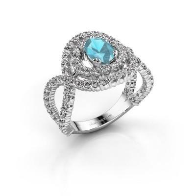 Ring Chau 925 zilver blauw topaas 7x5 mm