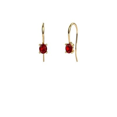 Picture of Drop earrings Cleo 585 gold ruby 6x4 mm