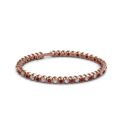 Tennisarmband Bianca 3 mm 375 rosé goud robijn 3 mm