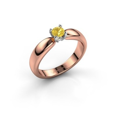 Promise ring Katrijn 585 rose gold yellow sapphire 4.2 mm