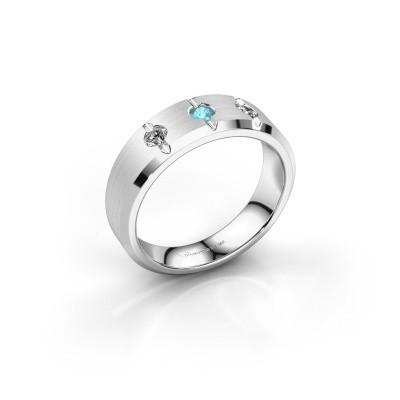 Foto van Heren ring Remco 925 zilver blauw topaas 2.7 mm