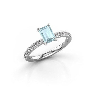 Picture of Engagement ring Crystal EME 2 950 platinum aquamarine 6.5x4.5 mm