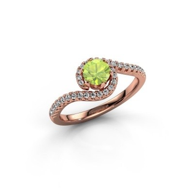 Engagement ring Elli 375 rose gold peridot 5 mm