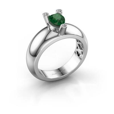 Ring Cornelia Pear 925 silver emerald 7x5 mm