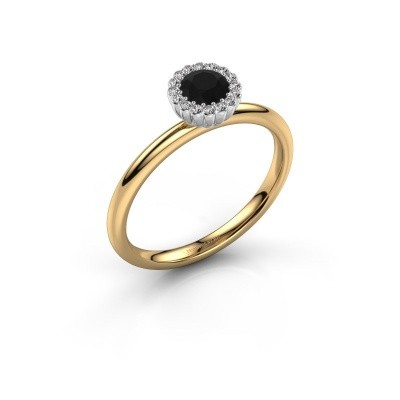 Engagement ring Queen 585 gold black diamond 0.44 crt