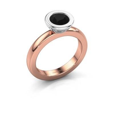 Stapelring Eloise Round 585 rosé goud zwarte diamant 0.96 crt