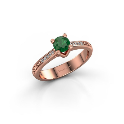 Picture of Engagement ring Mei 375 rose gold emerald 4.7 mm