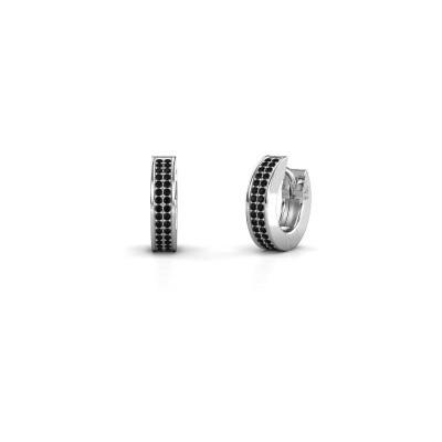 Foto van Creolen Renee 2 9 mm 585 witgoud zwarte diamant 0.60 crt