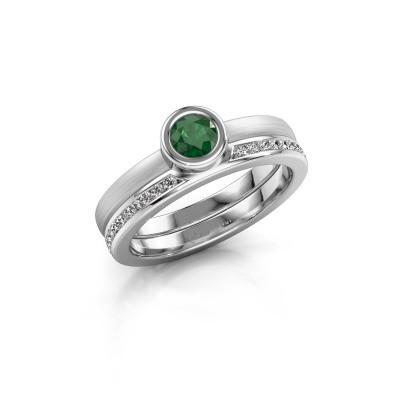 Foto van Ring Cara 950 platina smaragd 4 mm