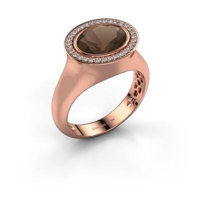 Foto van Ring Phebe 375 rosé goud rookkwarts 10x8 mm