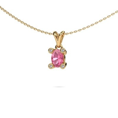Photo de Collier Cornelia Oval 585 or jaune saphir rose 7x5 mm