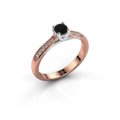 Foto van Verlovingsring Mia 2 585 rosé goud zwarte diamant 0.36 crt