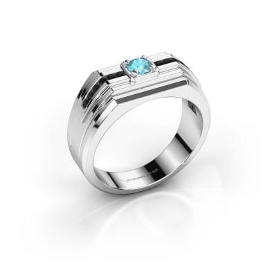 Foto van Heren ring Oliver 585 witgoud blauw topaas 4 mm
