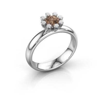 Stapelring Carola 1 585 witgoud bruine diamant 0.50 crt