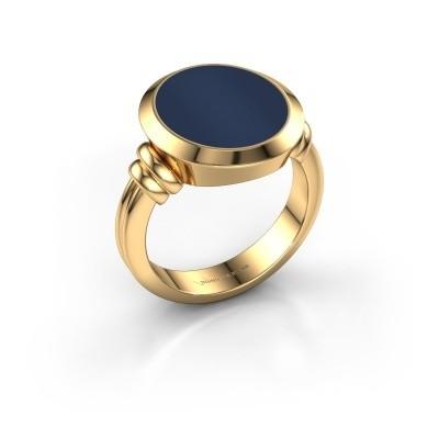 Zegelring Jake 4 585 goud donker blauw lagensteen 15x13 mm