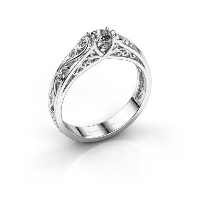 Foto van Ring Quinty 585 witgoud zirkonia 4 mm