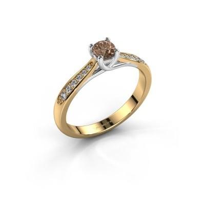 Foto van Verlovingsring Mia 2 585 goud bruine diamant 0.30 crt