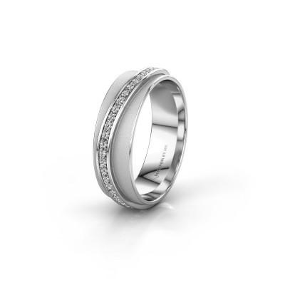 Huwelijksring WH2126L 585 witgoud diamant ±6x1.7 mm