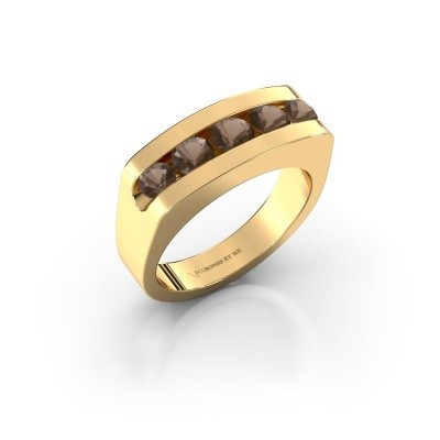 Foto van Heren ring Richard 375 goud rookkwarts 4 mm