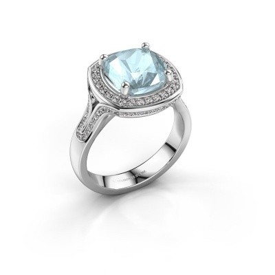 Photo de Bague Lili 585 or blanc aigue-marine 9 mm