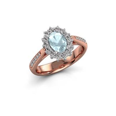 Engagement ring Margien 2 585 rose gold aquamarine 7x5 mm