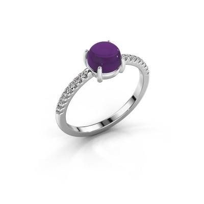 Ring Cathie 585 witgoud amethist 6 mm