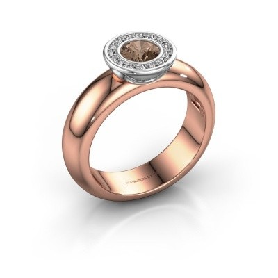 Foto van Stapelring Anna 585 rosé goud bruine diamant 0.635 crt