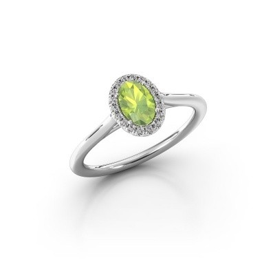 Engagement ring Seline 1 925 silver peridot 6x4 mm