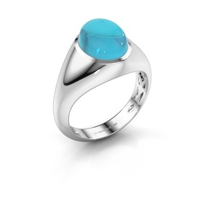 Ring Zaza 925 zilver blauw topaas 10x8 mm